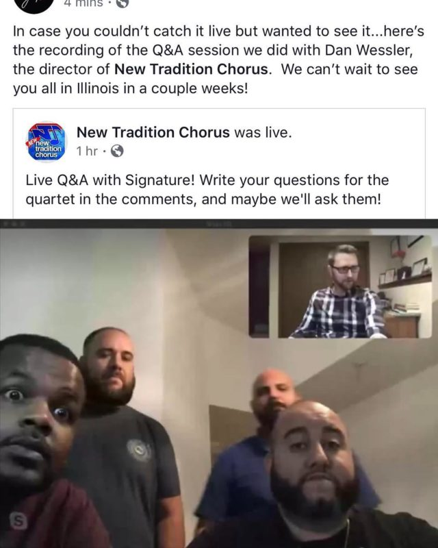 In case you couldn't catch it live but wanted to see it...here's the link to the Facebook recording of the Q&A session we did with Dan Wessler, the director of @newtraditionchorus.  We can't wait to see you all in Illinois in a couple weeks!  #BHS #BarbershopHarmonySociety #SignatureQuartet #SignatureQt #BarberSoul #NewTraditionChorus #NewNewTradition https://www.facebook.com/331277986996962/posts/1333418970116187?s=18703539&v=i&sfns=mo (link in bio)